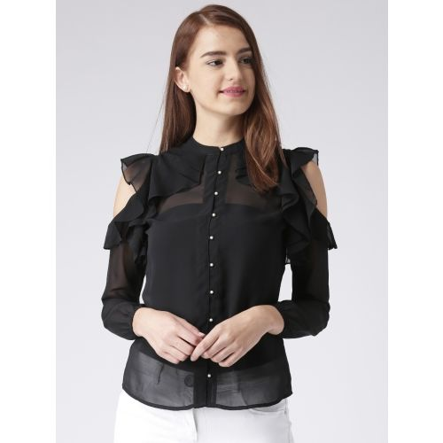 KASSUALLY Women Solid Casual Black Shirt