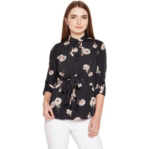 Oxolloxo Women Floral Print Casual Black Shirt