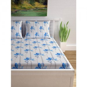 Divine Casa Off-White & Blue Floral Flat Cotton 1 King Bedsheet with 2 Pillow Covers