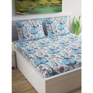 Divine Casa Off-White & Blue Floral Flat 120 TC Cotton 1 Extra Large Bedsheet with 2 Pillow Covers