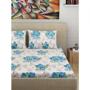 Divine Casa Off-White & Blue Floral Flat 180 TC Cotton 1 King Bedsheet with 2 Pillow Covers
