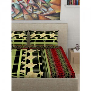 Divine Casa Black & Green Floral Flat 180 TC Cotton 1 King Bedsheet with 2 Pillow Covers