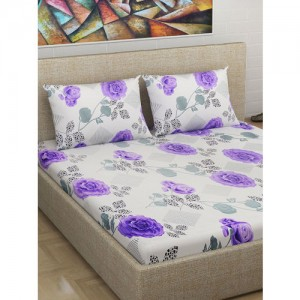 Divine Casa Off-White & Purple Floral Flat 180 TC Cotton 1 Extra Large Bedsheet with 2 Pillow Covers