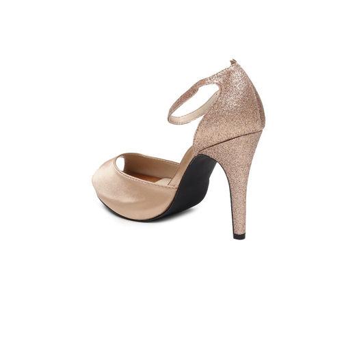 Catwalk Women Bronze-Toned Solid Peep Toe Heels