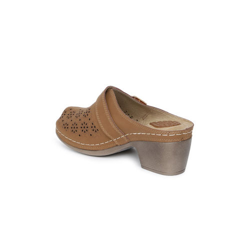 Catwalk Women Brown Laser Cuts Mules