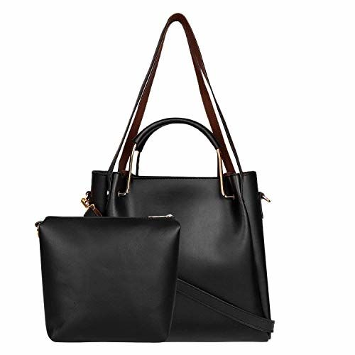 Don Cavalli Women's PU Leather Handbag with Sling Bag Combo (HB017, Black)