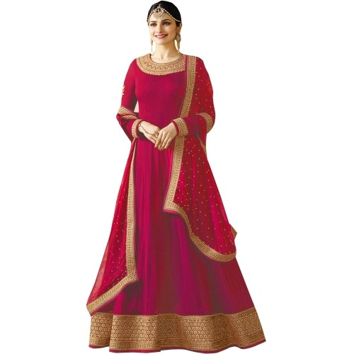 Fashion Basket Red Georgette Embroidered Anarkali Gown with Dupatta