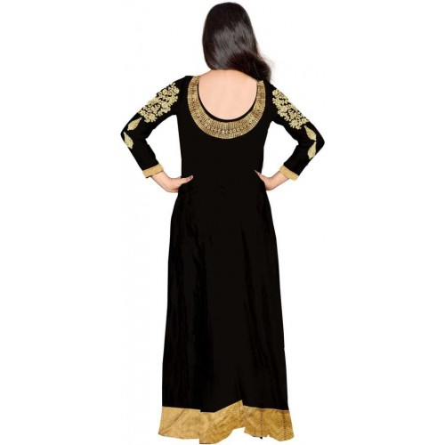Fashion Basket Black Georgette Embroidered Anarkali Gown With Dupatta