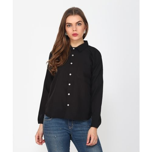 8e21157a8 Buy Provogue Women s Solid Casual Black Shirt online