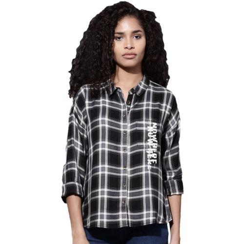 Roadster Women Checkered Casual Black, White Shirt