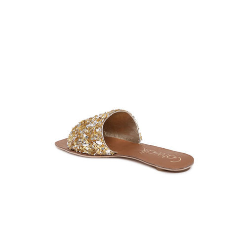 Catwalk Women Gold Solid Open Toe Flats