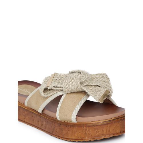 Catwalk Women Tan Solid Synthetic Open Toe Flats