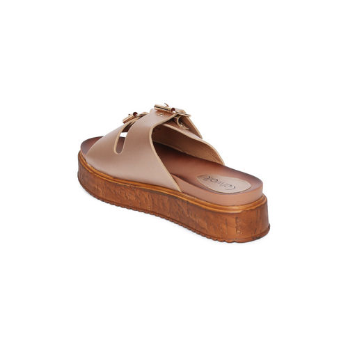 Catwalk Women Rose Gold Solid Synthetic Open Toe Flats