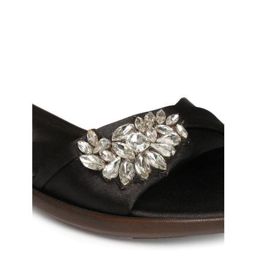 Catwalk Women Black Embellished Synthetic Open Toe Flats