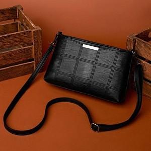 Zibuyu Fashion Korean Black PU Plaid Messenger Bag Shoulder Bags