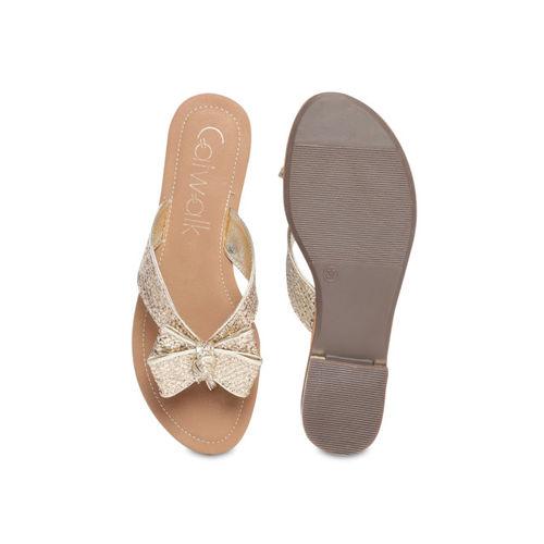 Catwalk Women Gold-Toned Solid Open Toe Flats