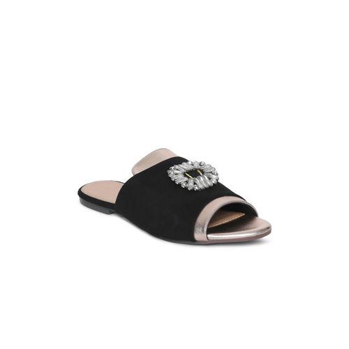 Catwalk Women Black Solid Synthetic Open Toe Flats