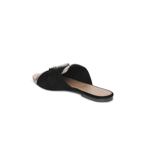 Catwalk Women Black Solid Synthetic Open Toe Flats