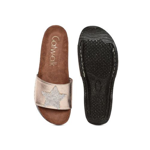 Catwalk Women Rose Gold Solid Open Toe Flats