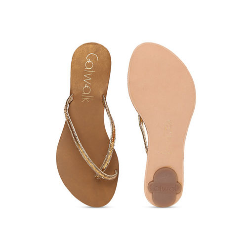 Catwalk Women Gold-Toned Sequinned One Toe Flats