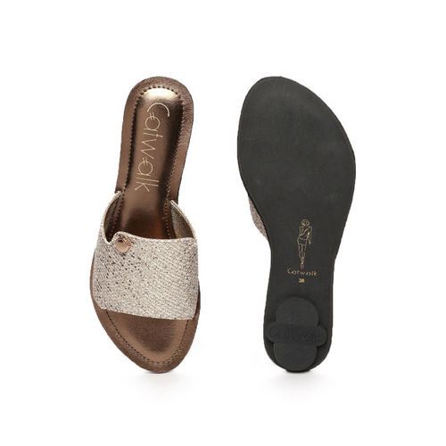 Catwalk Women Rose Gold-Toned Solid Synthetic Open Toe Flats