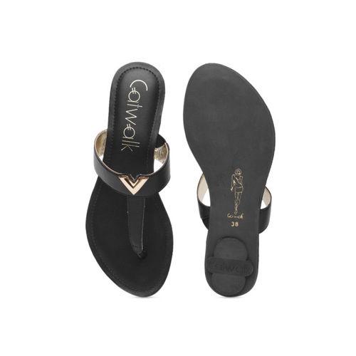 Catwalk Women Black Solid Leather Flats
