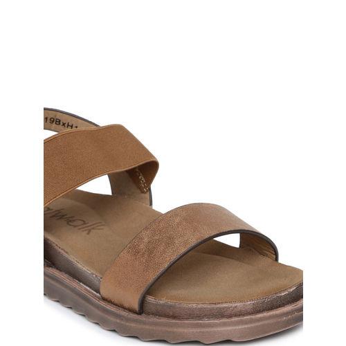 Catwalk Women Bronze-Toned Solid Open Toe Flats