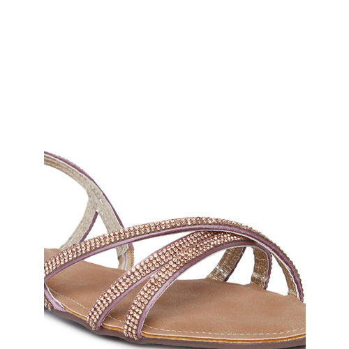 Catwalk Women Rose Gold-Tone Solid Open Toe Flats