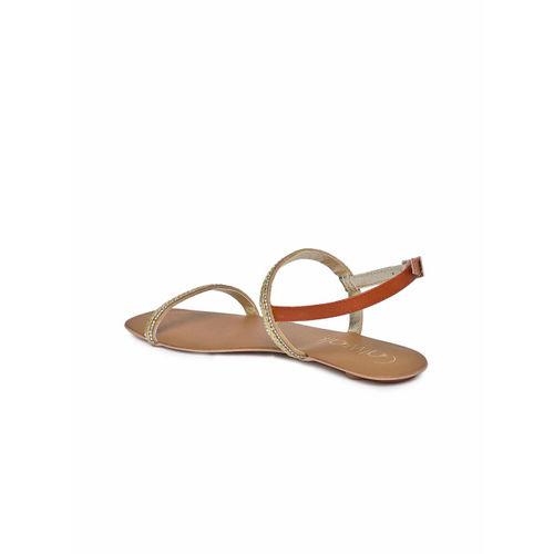 Catwalk Women Gold-Toned & Brown Solid Open Toe Flats