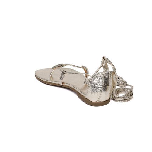 Catwalk Women Gold-Toned Solid Open-Toe Flts