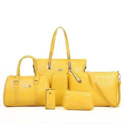 Mei&Ge Mei Crocodile Skin Pattern Glossy Finish PU/Synthetic Leather Handbags for Women - Set of 6 - Yellow Colour