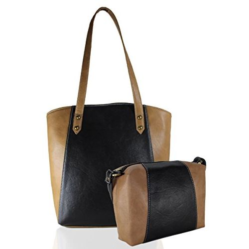 Fargo Motley PU Leather Women's & Girl's Shoulder Tote Handbag & Cross Body Side Sling Bag Combo (Black,Beige_FGO-043)