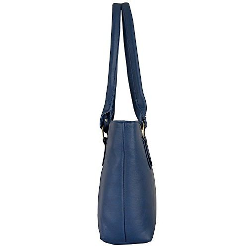 SALEBOX Solid Leather Hand Bag with Wallet/Clutch Combo - Blue Pack of Two