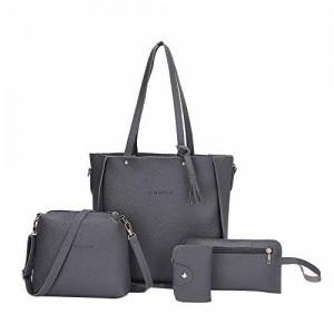 Zibuyu 4Pcs Set Lichi Leather Tassels Women Tote Shoulder Clutch Bags (Dark  Grey b647e7190688f
