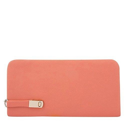 Clementine Women's PU Leather Pink Handbag and Wallet Clutch Combo