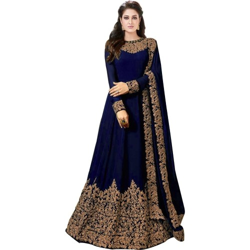 Trilok Fab NavyBlue Georgette Embroidered Anarkali Gown With Dupatta