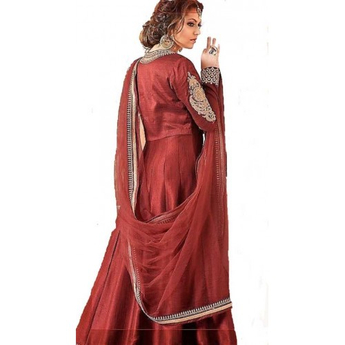 Mert India Maroon Silk Embroidered Straight Gown With Dupatta