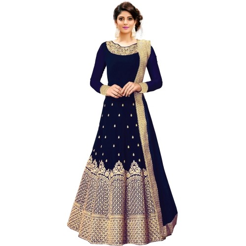 Siddeshwary Fab NavyBlue Fentam Silk Embroidered Anarkali Gown With Dupatta
