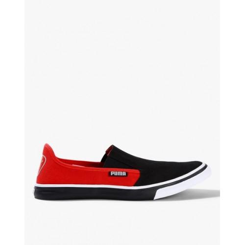 Puma Men Black & Red Colorblocked Apollo IDP Slip-On Sneakers
