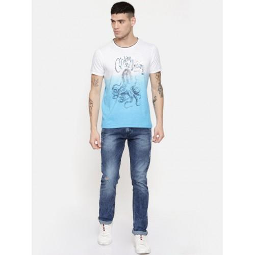 SPYKAR Men White Dyed Round Neck T-shirt