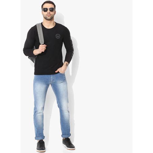 SPYKAR Black Polyester Solid Round Neck T-shirt