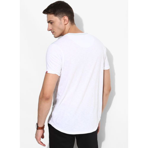 SPYKAR White Printed Slim Fit Round Neck T-shirt