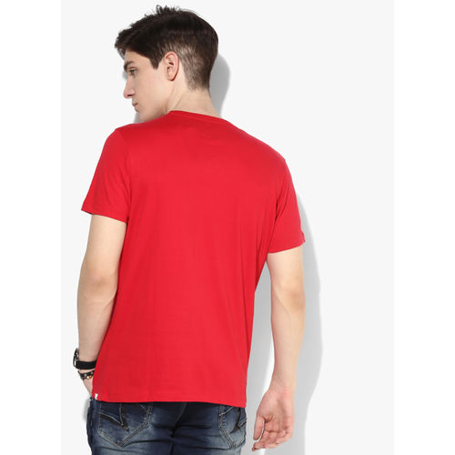 SPYKAR Red Printed Round Neck T-Shirt