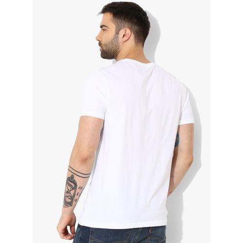 SPYKAR White Printed Round Neck T-Shirt