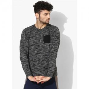 SPYKAR Black Solid Round Neck T-Shirt