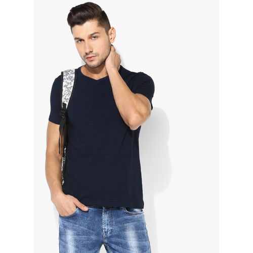 63035ed1e04a Buy SPYKAR Blue Striped Slim Fit V Neck T-Shirt online | Looksgud.in