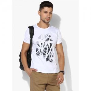 SPYKAR White Graphic Slim Fit Round Neck T-Shirt