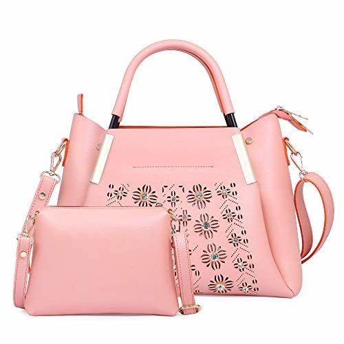 Fiesto Fashion Pink Stylish Leather Handbag with Sling Bag
