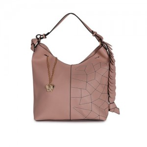 Butterflies Pink Solid Hobo Bag