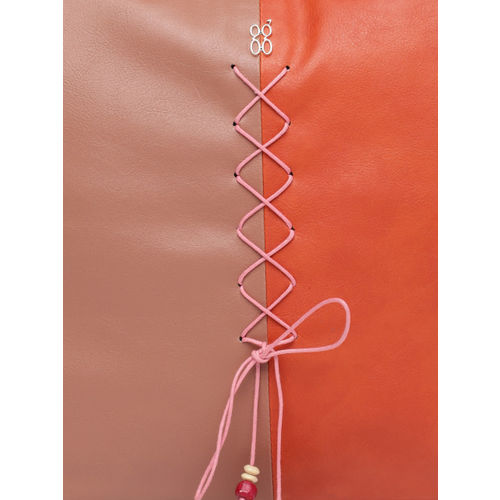 Baggit Orange & Pink Colourblocked Hobo Bag